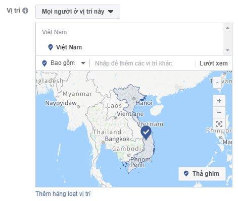 Quảng cáo nhắm đến một vị trí địa lý rộng trên Facebook Ads