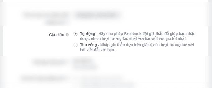 Giá thầu tự động và thủ công trên facebook ads